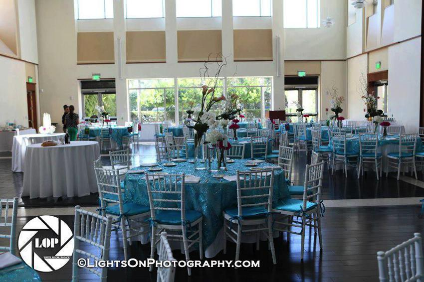 Multipurpose room setup for a luncheon
